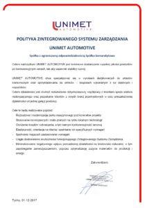 polityka_zintegrowanego_systemu_zarzadzania_unimet_automotive